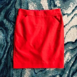 """J. Crew - """"The Pencil Skirt"""" - Red"""